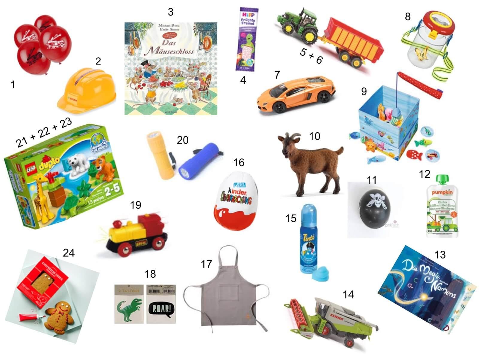DIY Adventskalender mit 24 Geschenkideen für Kleinkinder