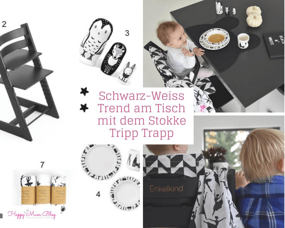 Schwarz-Weiss Trend am Tisch mit dem Stokke Tripp Trapp