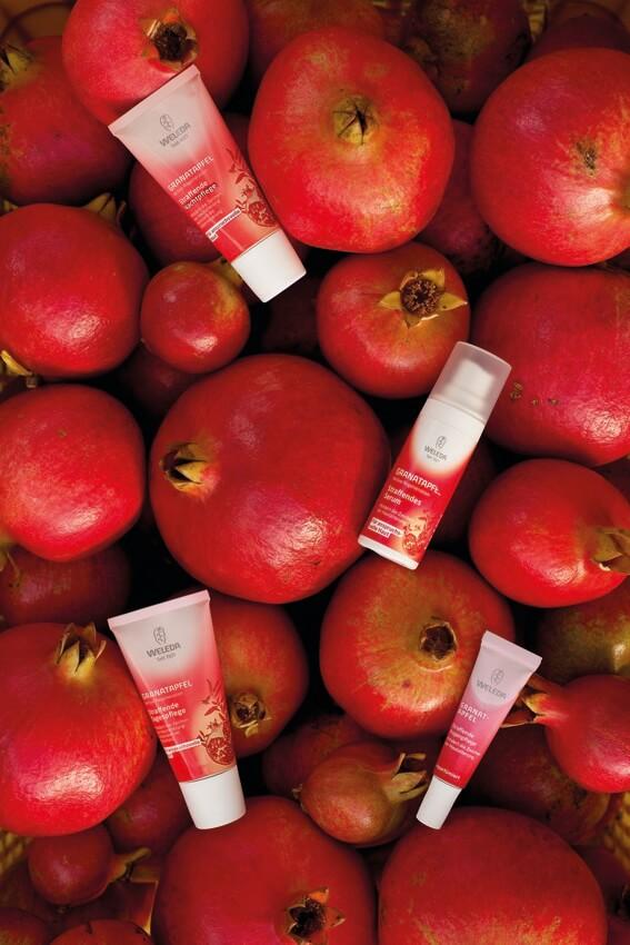 Granatapfel Promegrande straffende Gesichtspflege Weleda Verlosung Valentinstag